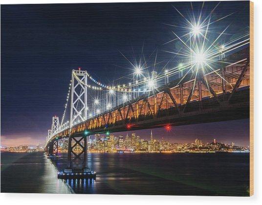 Bay Bridge And San Francisco By Night 5 Wood Print