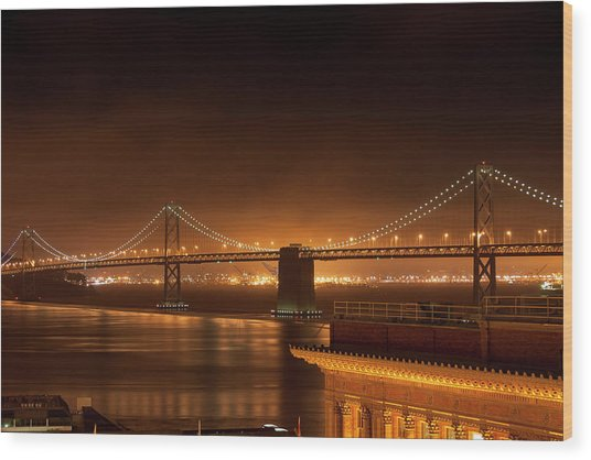 Bay Bridge At Night Wood Print