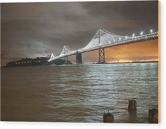 Bay Bridge Night Wood Print