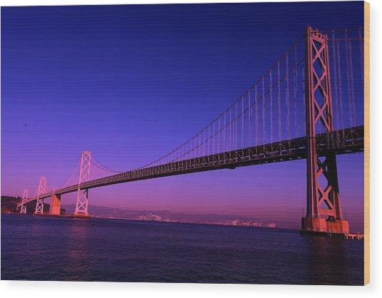 Bay Bridge Sunset Wood Print