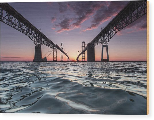 Bay Bridge Twilight Wood Print