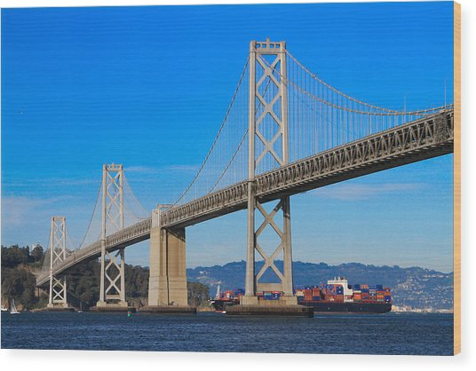 Bay Bridge With Apl Houston Wood Print