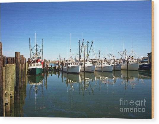 Bay Parking At Long Beach Island Wood Print by John Rizzuto