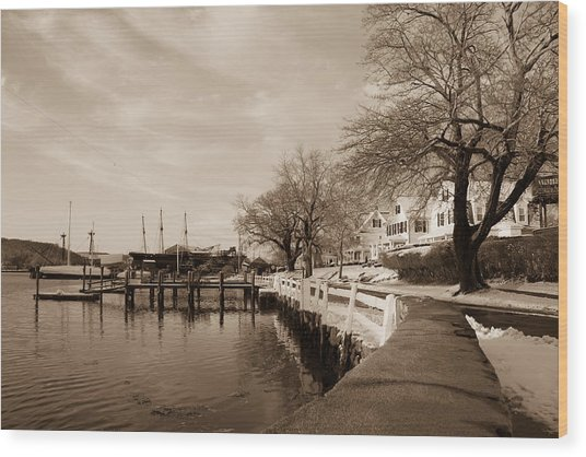 Bay Street In Winter - Mystic Ct Wood Print