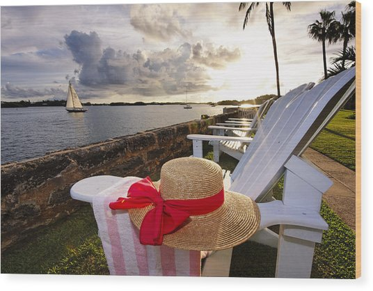 Bay With A Straw Hat And Adirondack Chairs Hamilton Bermuda Wood Print by George Oze