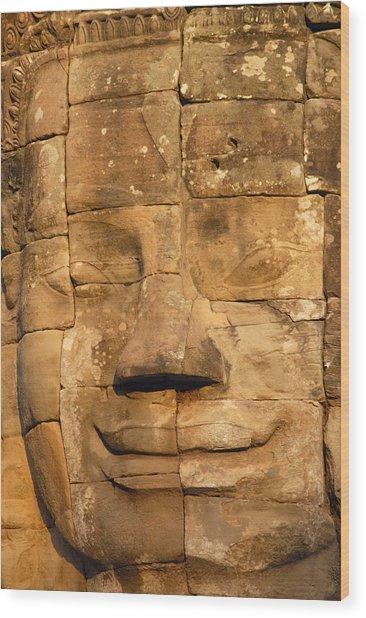 Bayon Temple  Wood Print by Liz Pinchen