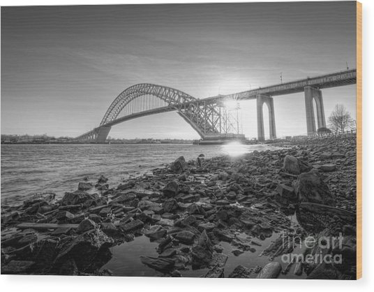 Bayonne Bridge Black And White Wood Print