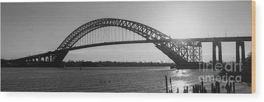 Bayonne Bridge Panorama Bw Wood Print