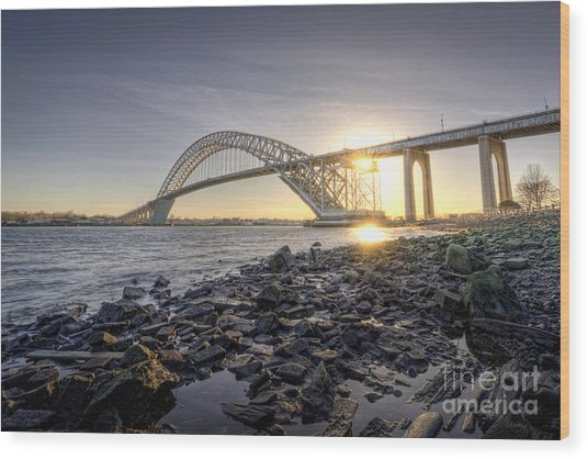Bayonne Bridge Sunset Wood Print