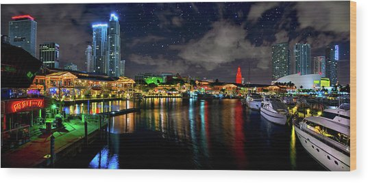 Bayside Miami Florida At Night Under The Stars Wood Print