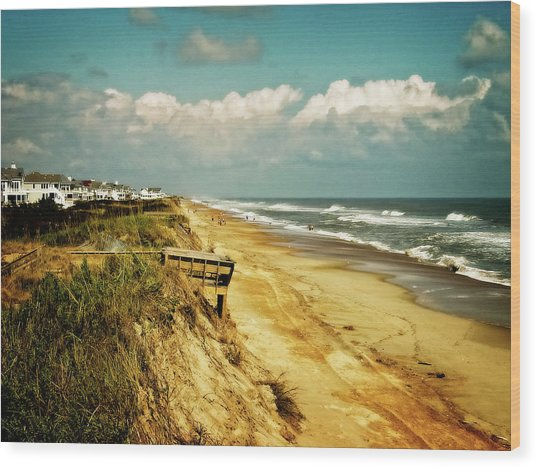 Beach At Corolla Wood Print