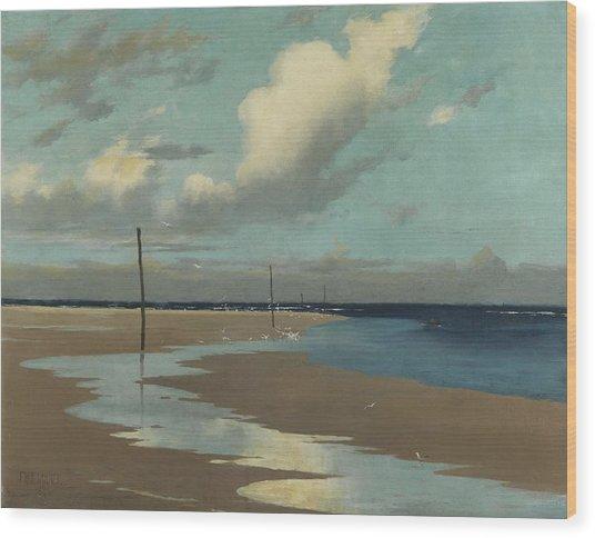 Beach At Low Tide Wood Print