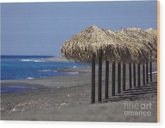Wood Print featuring the photograph Beach At Perivolos by Jeremy Hayden