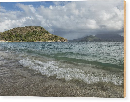 Beach At St. Kitts Wood Print