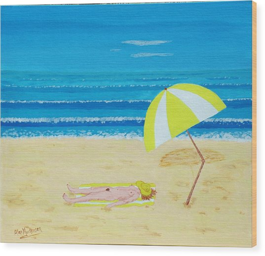Beach Babe With All She Needs Wood Print by Alex Mortensen