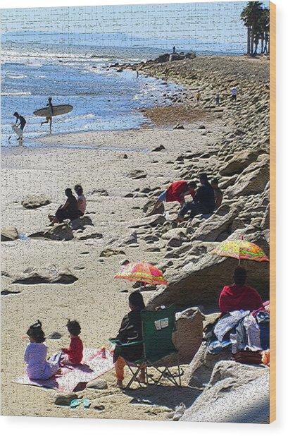 Beach Babies 2 Wood Print by Robin Hernandez