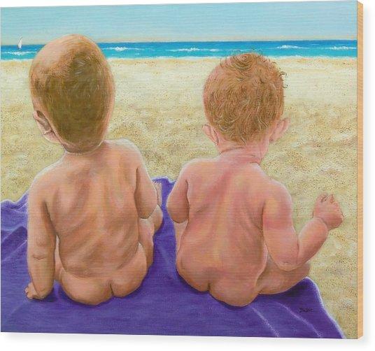 Beach Babies Wood Print