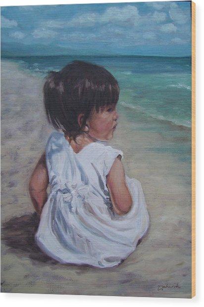 Beach Baby Wood Print by Tahirih Goffic