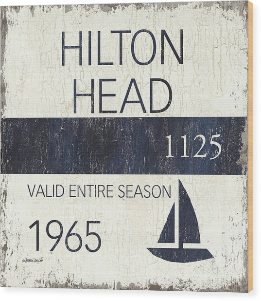 Beach Badge Hilton Head Wood Print