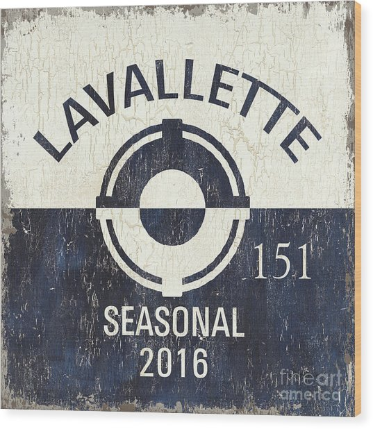 Beach Badge Lavalette Wood Print