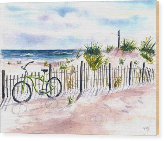 Beach Bike At Seaside Wood Print
