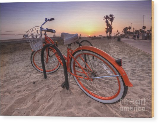 Beach Bike Wood Print