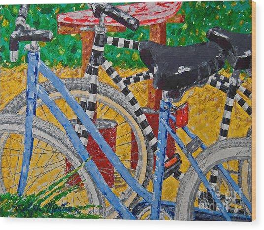 Beach Bikes  Wood Print