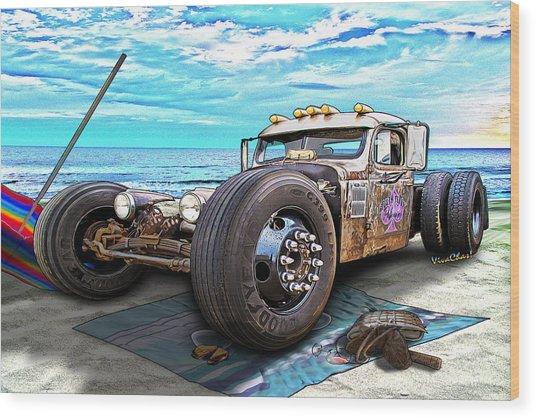 Beach Blanket Rat Rod Wood Print