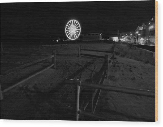 Beach Boardwalk Amusement Wood Print