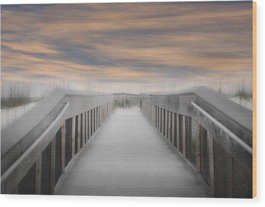 Wood Print featuring the photograph Beach Boardwalk by Judy Hall-Folde
