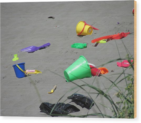 Beach Buckets Wood Print by Gregory Smith
