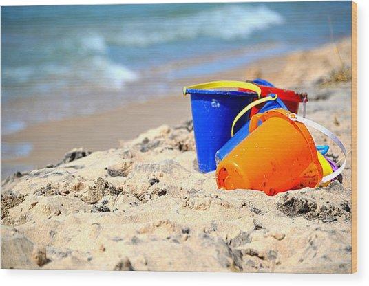 Beach Buckets Wood Print