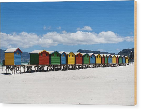 Beach Cabins  Wood Print