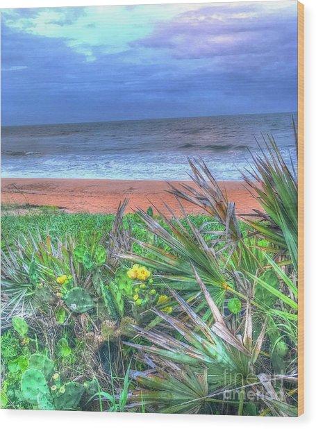 Beach Cactus Wood Print