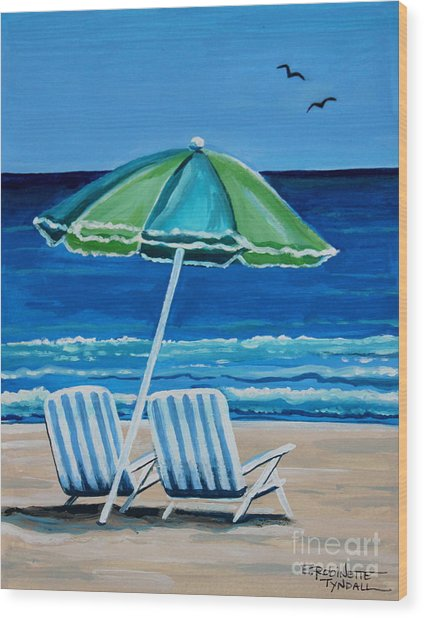 Beach Chair Bliss Wood Print