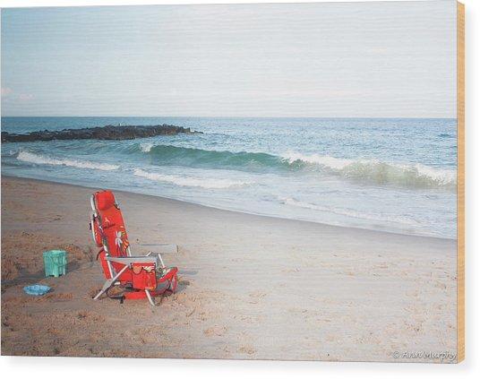 Beach Chair By The Sea Wood Print