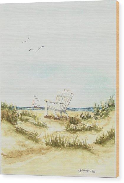 Beach Chair Wood Print