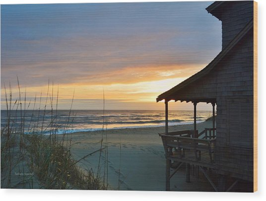 Beach Cottage Sunrise  Wood Print
