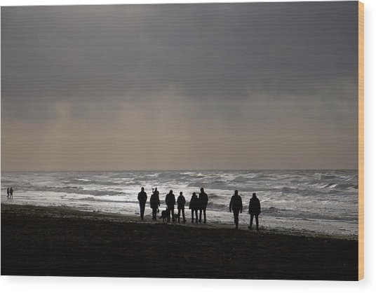 Beach Day Silhouette Wood Print