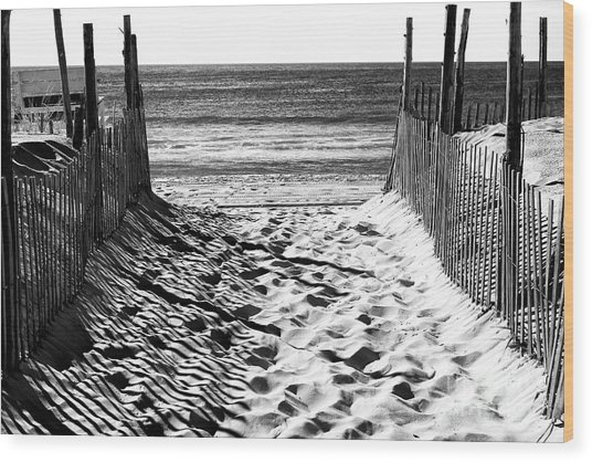 Beach Entry Black And White Long Beach Island Wood Print