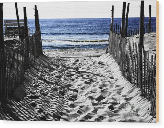 Beach Entry Fusion Wood Print