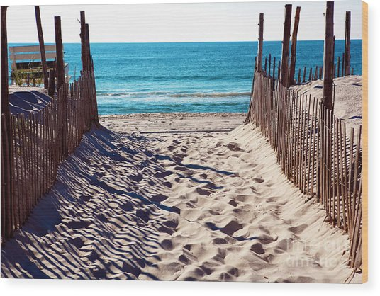 Beach Entry On Long Beach Island Wood Print