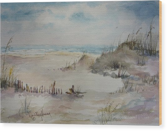 Beach Fence Wood Print by Dorothy Herron