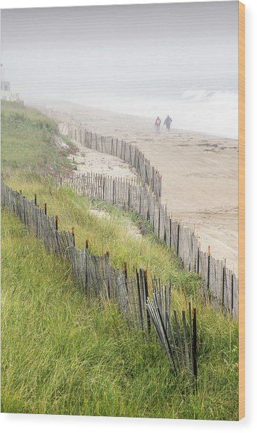 Beach Fences In A Storm Wood Print