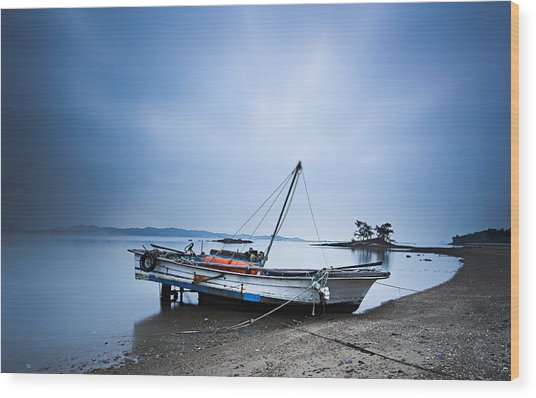 Beach Fishing Boat Wood Print