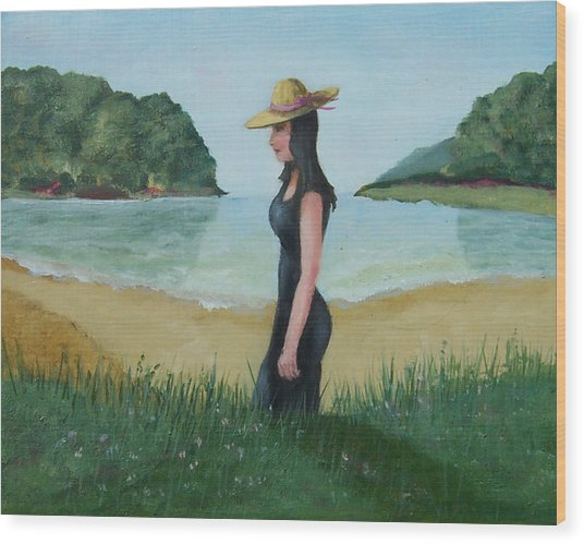 Beach Girl Wood Print