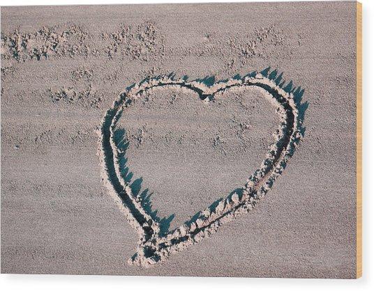 Beach Heart Wood Print