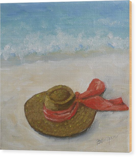 Beach Hat In The Sand Wood Print by Barbara Harper