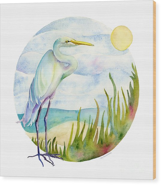 Beach Heron Wood Print