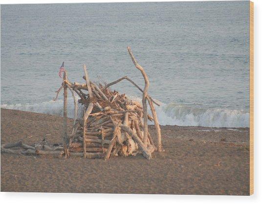 Beach House Wood Print by Amy Holmes